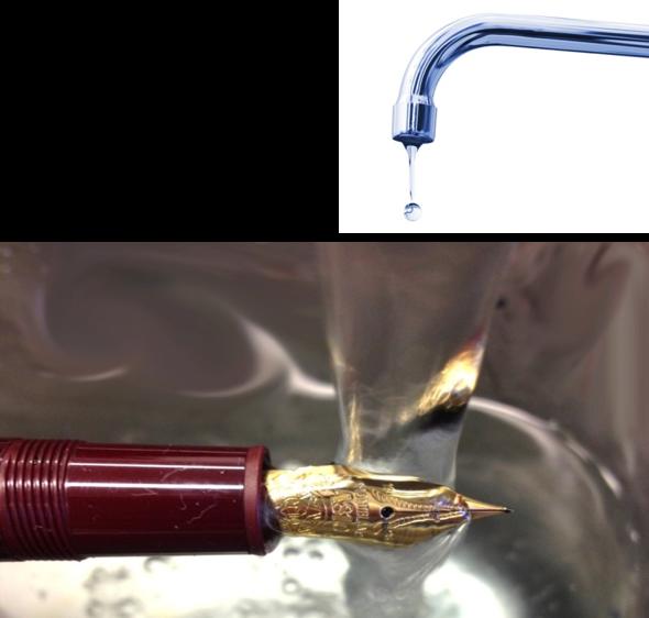 Lavare la penna con acqua corrente